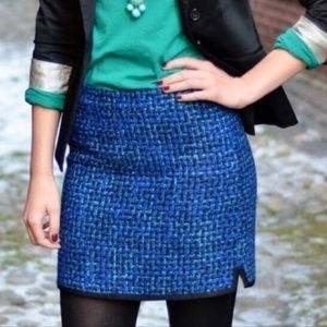 j. crew // indigo blue tweed boucle mini skirt